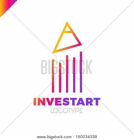 Abstract Pencil Arrow Logo Template. Vector Business Icon