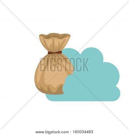 Money bag and cloud computing icon. Storage technology and virtual theme. Isolated design. Vector illustration