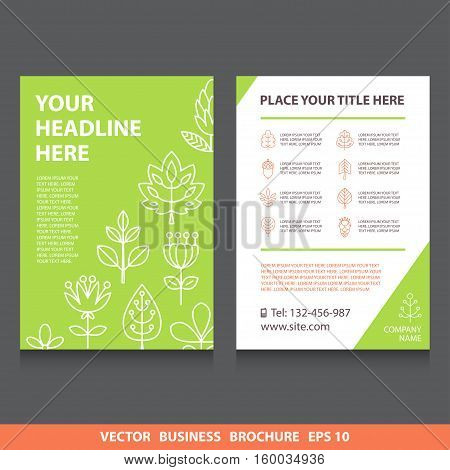 Vector flyers brochure with flowers and trees icons. Stock vector template easy to use. Ecology themes. Size A4. Eps 10