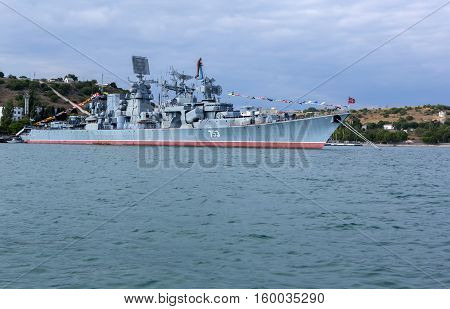 Sevastopol, Russia - June 09, 2016: Kerch 753 was a Kara-class missile cruiser of the Soviet and later Russian Navy.