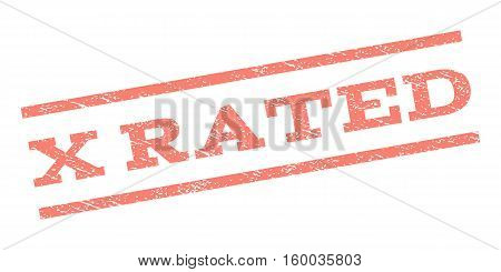 X Rated watermark stamp. Text tag between parallel lines with grunge design style. Rubber seal stamp with dirty texture. Vector salmon color ink imprint on a white background.