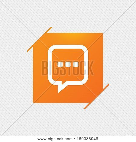 Chat sign icon. Speech bubble with three dots symbol. Communication chat bubble. Orange square label on pattern. Vector