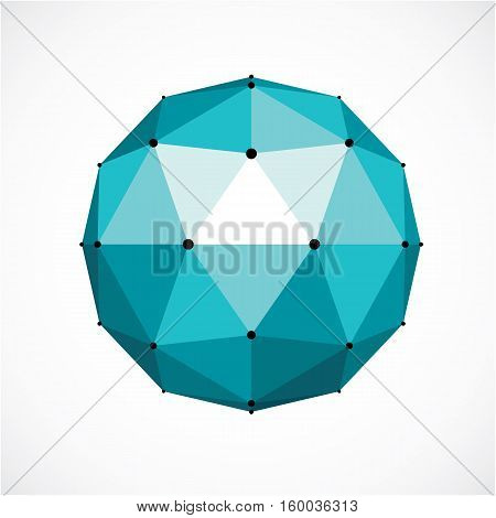 Abstract 3D Faceted Figure With Connected Black Lines And Dots. Green Vector Low Poly Design Element