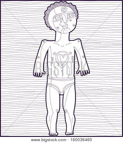 Vector Lined Monochrome Illustration Of Nude Man, Adam Concept. Hand Drawn Image Of Person Isolated