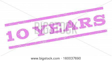 10 Years watermark stamp. Text tag between parallel lines with grunge design style. Rubber seal stamp with dust texture. Vector violet color ink imprint on a white background.