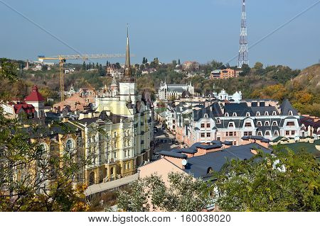 Roofs of houses in the Andrew's Descent in Kiev.