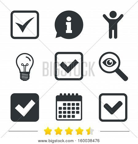 Check icons. Checkbox confirm squares sign symbols. Information, light bulb and calendar icons. Investigate magnifier. Vector
