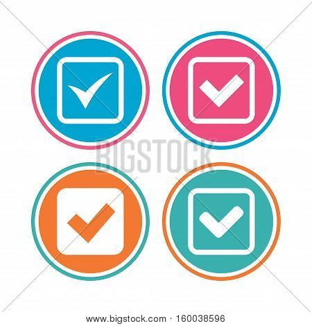 Check icons. Checkbox confirm squares sign symbols. Colored circle buttons. Vector