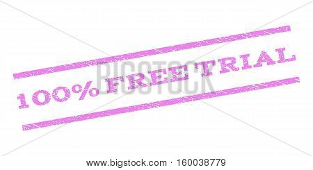 100 Percent Free Trial watermark stamp. Text caption between parallel lines with grunge design style. Rubber seal stamp with unclean texture. Vector violet color ink imprint on a white background.