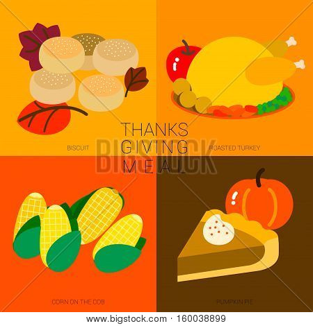 Contemporary Thanksgiving meal is always composed with large roasted turkey. Dinner is composed of menu cooked from their corp such as pumpkin pie and corn on the cob.
