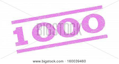 1000 watermark stamp. Text caption between parallel lines with grunge design style. Rubber seal stamp with dust texture. Vector violet color ink imprint on a white background.
