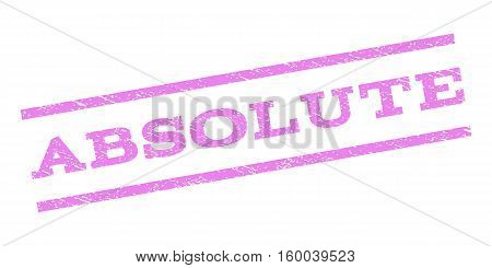 Absolute watermark stamp. Text caption between parallel lines with grunge design style. Rubber seal stamp with scratched texture. Vector violet color ink imprint on a white background.