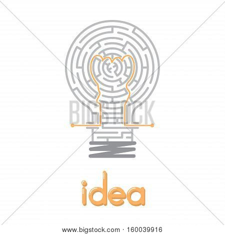 the maze in light bulb, maze idea game labyrinth, entry and exit, vector illustration, great ideas, creative way, creativity business, creative idea with maze