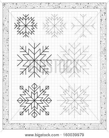 Black and white worksheet on a square paper with exercises for little children. Vector image.