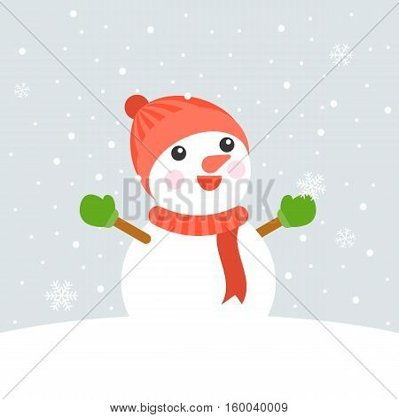 Snowman wearing knit hat, scarf, mittens looking up and rising hands in the air on snowing background for christmas theme, flat design