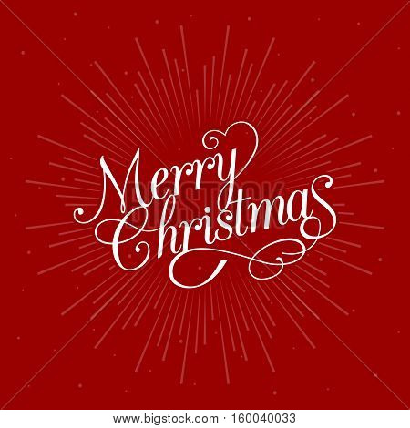 Merry Christmas calligraphic design with star burst on red background, flat design