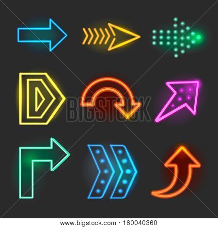 Neon realistic arrows signs, pointer set showing direction vector illustrationNeon arrows
