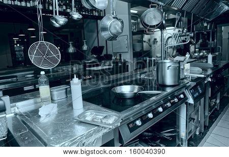 Professional kitchen interior, toned image