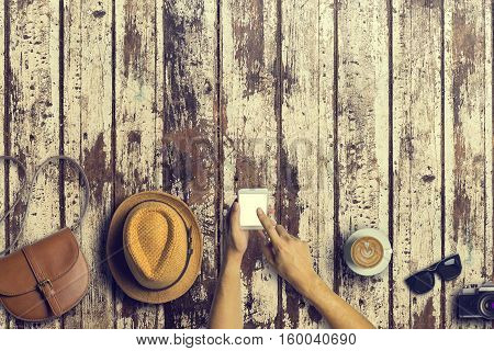 Concept Of Hipster Travel Traveler Travelling And Shopping