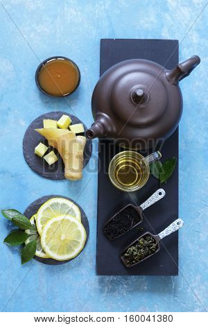 Tea set with ginger, lemon and honey