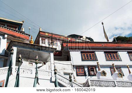 Tibetan Buddhist monastery at a high Himalaya