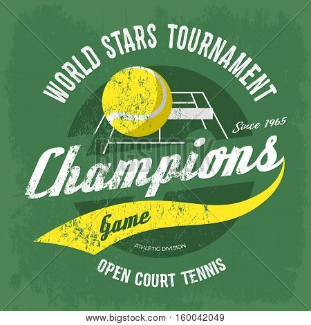 Tennis ball over court with net for t-shirt print. Sport gear banner or sportswear logo, tennis shirt for sportsmen or athletic clothing, cloth branding. For sport club or rack sport, tennis ball icon