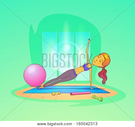 Woman exercising in gym in front of yin yang sign. Woman stretching on carpet with exercise ball and dumbbells or barbells. For sportswoman on sport club logo, aerobics exercise and healthy woman theme