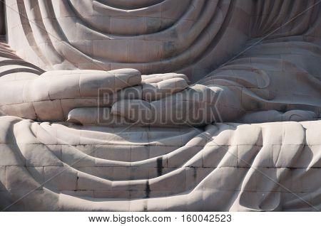 Detail of Great Buddha statue Bodh Gaya India