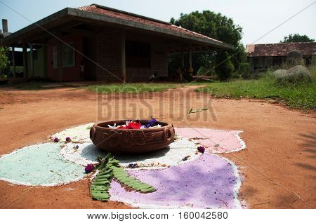 an Asian home with a prayer painting