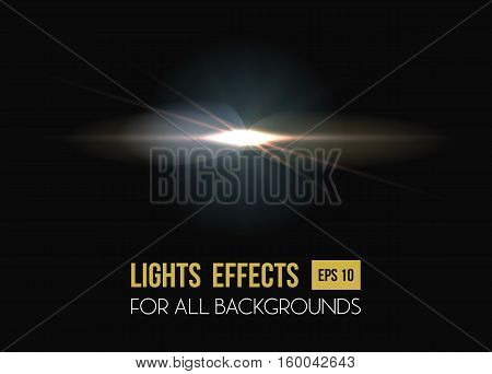 Solar flare or sun rays light effect background. Abstract explosion effect or star light, sunlight and glow in sky, burst beam through lens. Good for summer heat or magic, disco poster and party theme