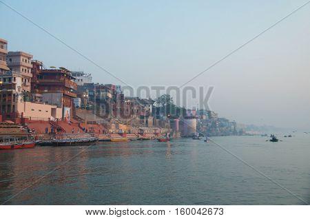 the Varanasi ghats Morning at Ganga River