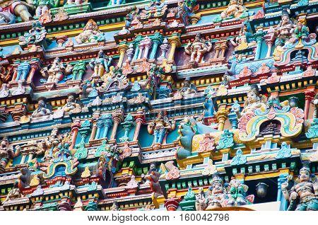 Fresque of an hindu tower temple detail