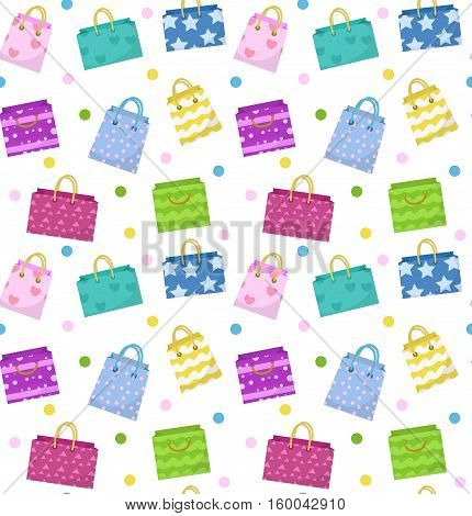 Cute shopping bag seamless pattern. Colorful shopping bags with different design backdrop. Paper bags endless background, texture. Gift package. Vector Illustration