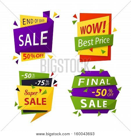 Sale tag or vector sale labels for price discount. Promotion offer or special advertisement sticker for retail price, sale badges, sell tag and price label, clearance sale promo for shop and store.