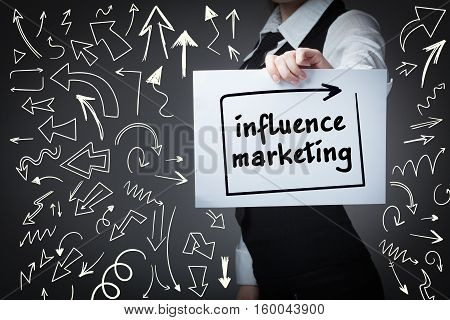 Technology, Internet, Business And Marketing. Young Business Woman Writing Word: Influence Marketing