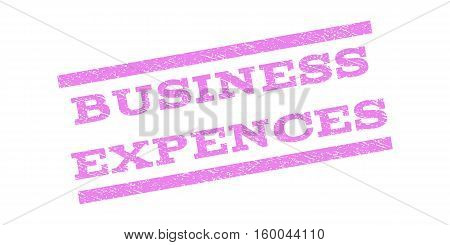 Business Expences watermark stamp. Text caption between parallel lines with grunge design style. Rubber seal stamp with dust texture. Vector violet color ink imprint on a white background.