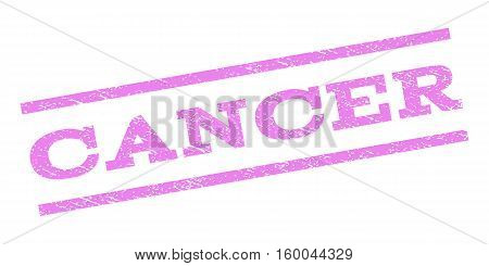 Cancer watermark stamp. Text caption between parallel lines with grunge design style. Rubber seal stamp with dirty texture. Vector violet color ink imprint on a white background.