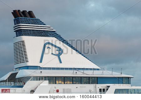 HELSINKI, FINLAND - NOVEMBER 26, 2016: Logo of Tallink Silja Line on the chimney of the cruise ship Symphony. In 2015, Tallink Silja Line carried almost 9 million passengers