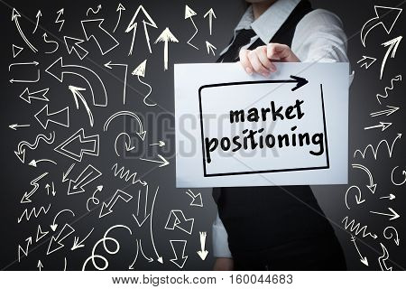 Technology, Internet, Business And Marketing. Young Business Woman Writing Word: Market Positioning