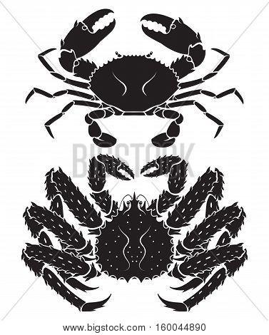 Alaskan king crab silhouette black color. Vector Illustrations.