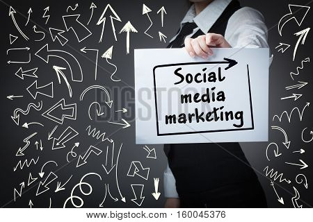 Technology, Internet, Business And Marketing. Young Business Woman Writing Word: Social Media Market