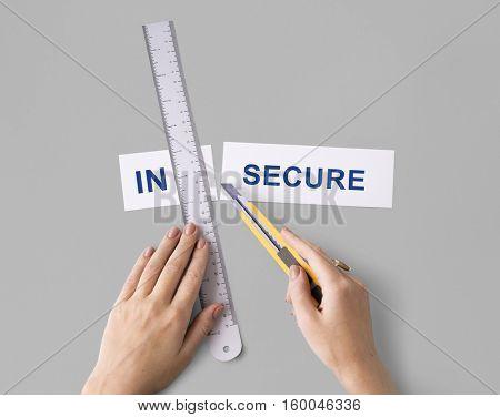 Insecure Unsafe Hands Cut Split Word Concept