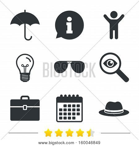 Clothing accessories icons. Umbrella and sunglasses signs. Headdress hat with business case symbols. Information, light bulb and calendar icons. Investigate magnifier. Vector