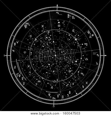Astrological Celestial map of Northern Hemisphere. Horoscope on January 1, 2017 (00:00 GMT). Detailed chart with symbols and signs of Zodiac, planets, asteroids, etc.