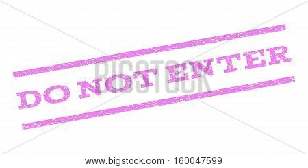 Do Not Enter watermark stamp. Text caption between parallel lines with grunge design style. Rubber seal stamp with unclean texture. Vector violet color ink imprint on a white background.