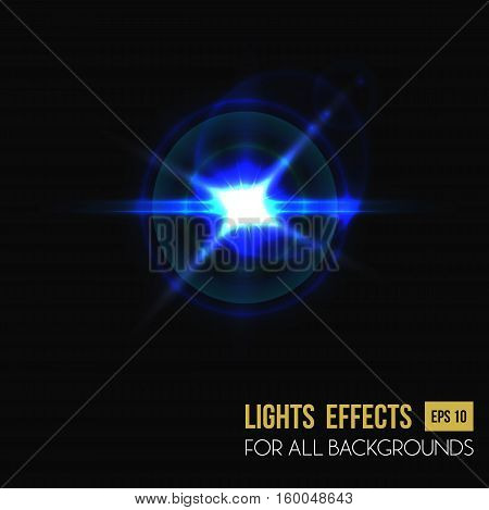 Light effect of sun burst through lens glass. Bright sunlight isolated background or backdrop, glowing sun or star light effect, sunbeam or ray spread.For light flare or lens effect, light of sunlight