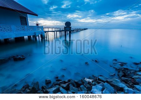 Blue hour landscape view as background for commercial