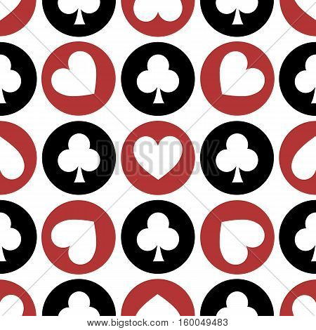 seamless pattern. EPS 10 vector illustration. used for printing websites design decoration interior fabrics etc. different multi-colored heart and club suit Poker among white red black.