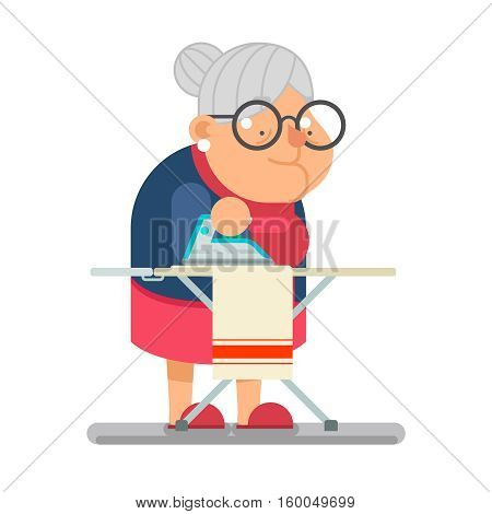 Iron clothes Household Granny Old Lady Character Cartoon Flat Vector illustration