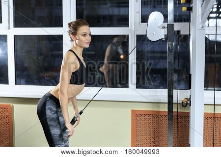 Young Healthy Fitness Woman Doing Heavy Weight Exercise For Triceps On Machine In The Gym